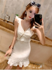 Korea Fashion Pleated Bust Flouncing Slim Tank Dress