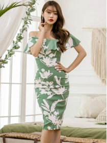 Pretty Wholesale 2 Colors Flouncing Boat Neck Flowers Slim Dress