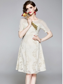 Summer Fashion Round Neck Short Sleeve Lace A-line Dress
