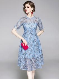Europe Stylish Round Neck Flowers Lace A-line Dress