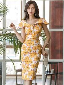Pretty Fashion Wraps Collar Flowers Skinny Dress
