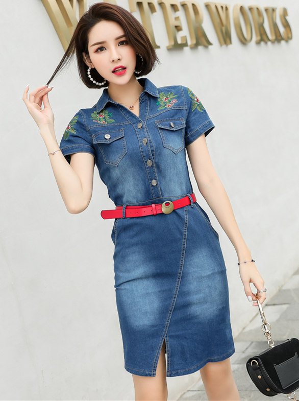 Summer Fashion Flowers Embroidery Slim Denim Shirt Dress