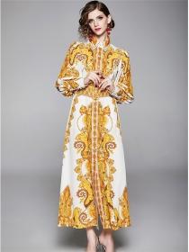 Europe Fashion Single-breasted Flowers Shirt Maxi Dress