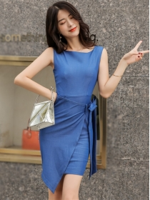 Fashion Summer Tie Waist Round Neck Slim Tank Dress