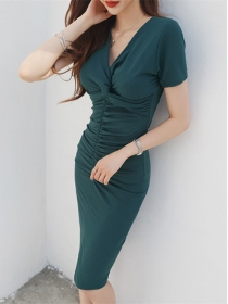 Wholesale Korea 2 Colors Pleated V-neck Slim Dress
