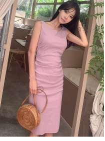 Wholesale Korea Round Neck Pleated Slim Tank Dress