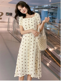 Lovely Girlish Square Collar High Waist Dots A-line Dress