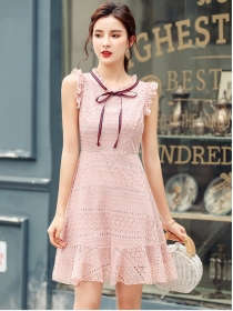 Fashion Summer 2 Colors Bowknot Collar Lace Tank Dress