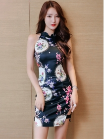 Wholesale Sexy Off Shoulder Flowers Cheongsam Dress