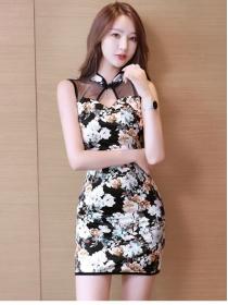 Pretty Lady Gauze Shoulder Flowers Slim Tank Dress