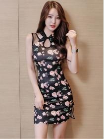 Fashion Charming Flowers Slim Cheongsam Tank Dress