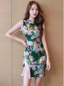 Retro Fashion Flowers Printings Slim Tank Dress