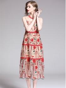 Europe Charming Flowers Embroidery Gauze Long Dress