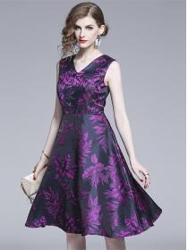 Charming Retro V-neck Flowers Tank A-line Dress