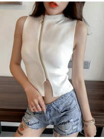 Summer Wholesale 4 Colors Zipper Knitting Camisole