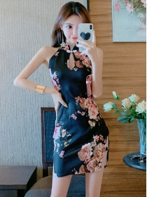 Retro Fashion Flowers Off Shoulder Slim Dress