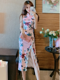 Europe Charming High Waist Flowers Printings Straps Long Dress