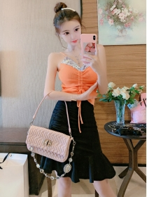 Korea Sexy 2 Colors Sequins Camisole with Fishtail Skirt