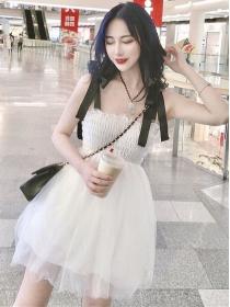 Lovely Girlish 2 Colors Bowknot Straps Gauze Fluffy Dress