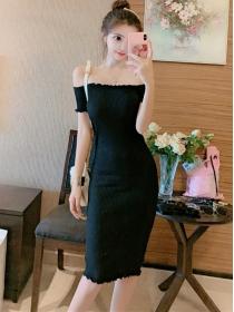 Wholesale Cheap Boat Neck Skinny Knitting Dress