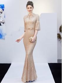 Nobel Fashion 4 Colors Flare Sleeve Blingbling Fishtail Prom Dress