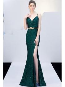 Brand New 6 Colors V-neck Split Sequins Straps Prom Dress