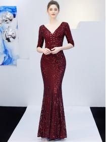 Quality 4 Colors Sequins Tie V-neck Gauze Fishtail Long Dress