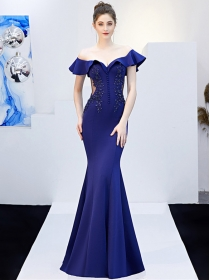 Grace Lady 5 Colors Flouncing Boat Neck Rhinestones Fishtail Dress