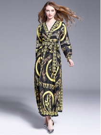 Europe Retro Tie Waist V-neck Flowers Maxi Dress