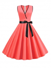 Wholesale Summer Tie Bowknot V-neck Tank Dress