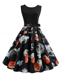 Fashion New Pumpkin Lantern Skulls Flouncing A-line Dress
