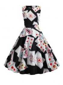 Stylish Korea Poker Printings Round Neck Tank Dress