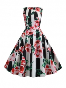 Wholesale Stylish Stripes Flowers Flouncing A-line Dress