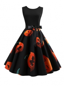 Wholesale Halloween Pumpkin Lantern Printing Tank Dress