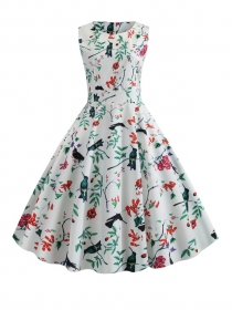 Summer Wholesale Tie Waist Flowers Flouncing A-line Dress