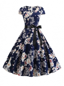 Pretty Wholesale Tie Waist Flowers Flouncing Dress