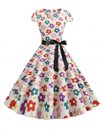 Charming Lady Colorful Flowers Short Sleeve A-line Dress