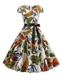 Retro Fashion V-neck Bowknot Waist Leaves A-line Dress