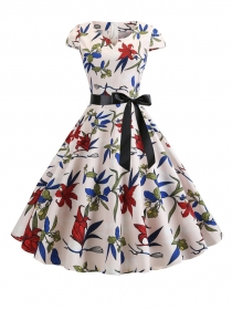 Fashion Summer V-neck Flowers Printings A-line Dress
