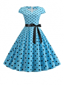 Classic Fashion Tie Waist Dots Flouncing A-line Dress