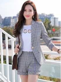 Modern Lady 2 Colors Tailored Collar Plaids Short Suits