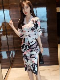 Retro Charming 2 Colors Tie Waist Flowers Split Slim Dress