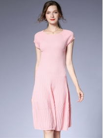 Pretty Fashion Round Neck Pleated Knitting A-line Dress