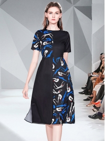 Fashion Wholesale Color Block Printings Short Sleeve Dress