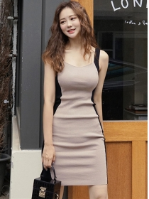 Fashion Summer Color Block Straps Skinny Knitting Dress