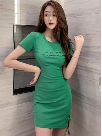 Fashion Korea 2 Colors Letters Round Neck Slim Dress
