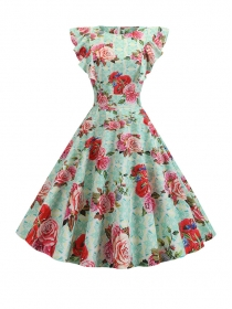 Charming Summer Slim Waist Flowers Flouncing A-line Dress