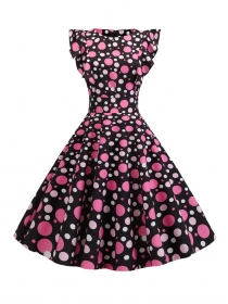 Pretty Summer Fashion High Waist Dots Flouncing A-line Dress