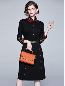 Quality New 2 Colors Double-breasted Embroidery Slim Dress