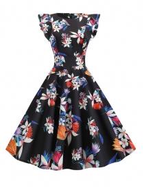 Retro Wholesale Slim Waist Flowers Flouncing Tank Dress
